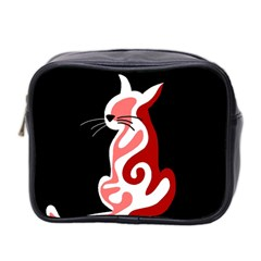 Red abstract cat Mini Toiletries Bag 2-Side