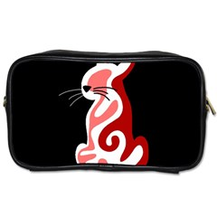 Red abstract cat Toiletries Bags
