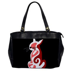 Red abstract cat Office Handbags