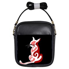 Red abstract cat Girls Sling Bags