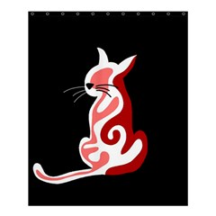 Red abstract cat Shower Curtain 60  x 72  (Medium)