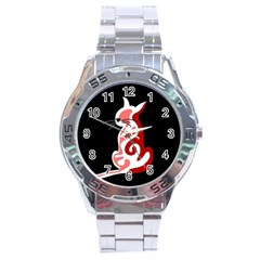 Red abstract cat Stainless Steel Analogue Watch