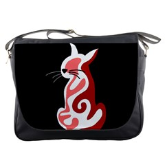 Red abstract cat Messenger Bags
