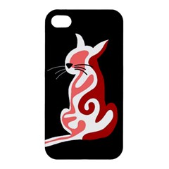 Red abstract cat Apple iPhone 4/4S Premium Hardshell Case