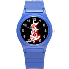 Red abstract cat Round Plastic Sport Watch (S)