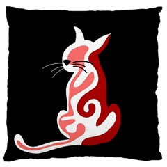 Red abstract cat Large Cushion Case (One Side)