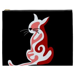 Red abstract cat Cosmetic Bag (XXXL)