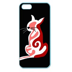 Red abstract cat Apple Seamless iPhone 5 Case (Color)