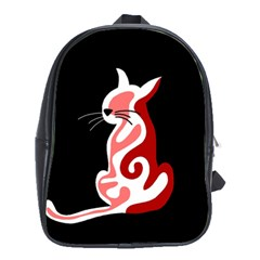 Red abstract cat School Bags (XL)