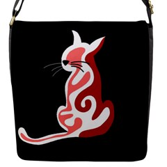 Red abstract cat Flap Messenger Bag (S)