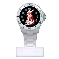Red abstract cat Plastic Nurses Watch