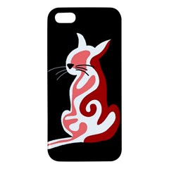 Red abstract cat iPhone 5S/ SE Premium Hardshell Case