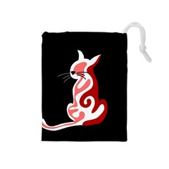 Red abstract cat Drawstring Pouches (Medium)