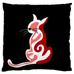 Red abstract cat Large Flano Cushion Case (One Side)