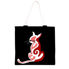 Red abstract cat Grocery Light Tote Bag