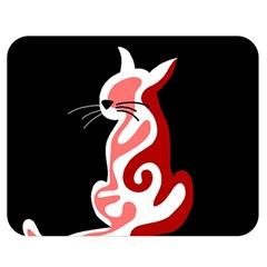 Red abstract cat Double Sided Flano Blanket (Medium)