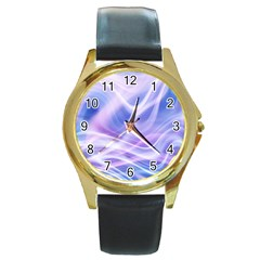Abstract Graphic Design Background Round Gold Metal Watch