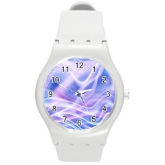 Abstract Graphic Design Background Round Plastic Sport Watch (M)