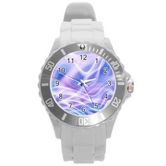 Abstract Graphic Design Background Round Plastic Sport Watch (L)