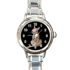 Brown abstract cat Round Italian Charm Watch