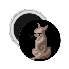 Brown abstract cat 2.25  Magnets