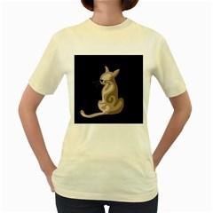 Brown abstract cat Women s Yellow T-Shirt