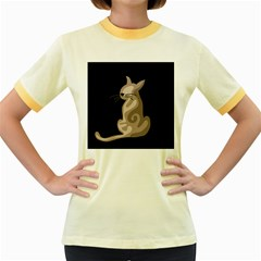 Brown abstract cat Women s Fitted Ringer T-Shirts