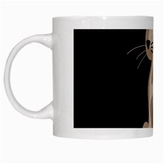 Brown abstract cat White Mugs