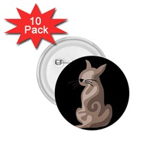 Brown abstract cat 1.75  Buttons (10 pack)