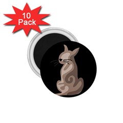 Brown abstract cat 1.75  Magnets (10 pack)