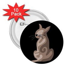 Brown abstract cat 2.25  Buttons (10 pack)