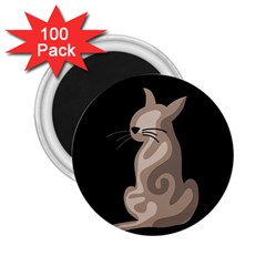 Brown abstract cat 2.25  Magnets (100 pack)