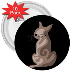 Brown abstract cat 3  Buttons (10 pack)