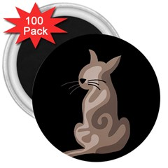 Brown abstract cat 3  Magnets (100 pack)