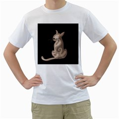 Brown abstract cat Men s T-Shirt (White) (Two Sided)