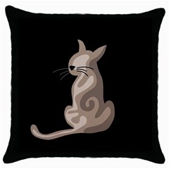 Brown abstract cat Throw Pillow Case (Black)