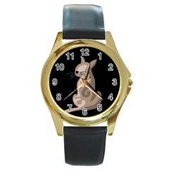Brown abstract cat Round Gold Metal Watch