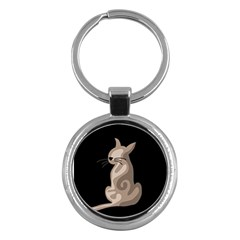 Brown abstract cat Key Chains (Round)
