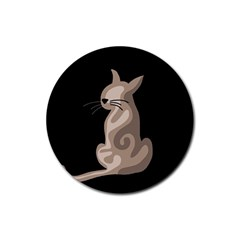Brown abstract cat Rubber Coaster (Round)