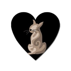 Brown abstract cat Heart Magnet