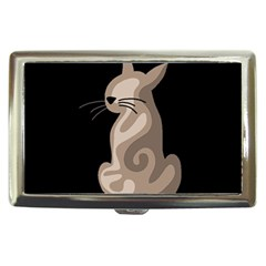Brown abstract cat Cigarette Money Cases