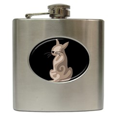 Brown abstract cat Hip Flask (6 oz)