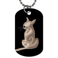Brown abstract cat Dog Tag (Two Sides)