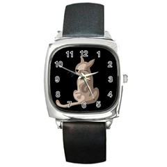 Brown abstract cat Square Metal Watch