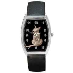 Brown abstract cat Barrel Style Metal Watch