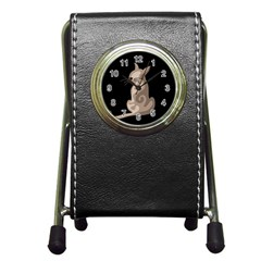 Brown abstract cat Pen Holder Desk Clocks