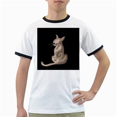 Brown abstract cat Ringer T-Shirts