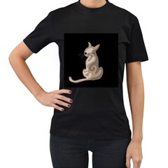 Brown abstract cat Women s T-Shirt (Black) (Two Sided)