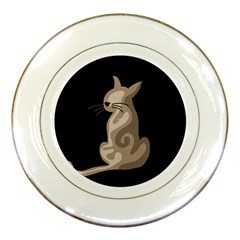 Brown abstract cat Porcelain Plates