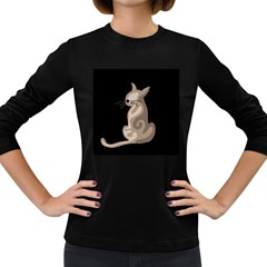 Brown abstract cat Women s Long Sleeve Dark T-Shirts